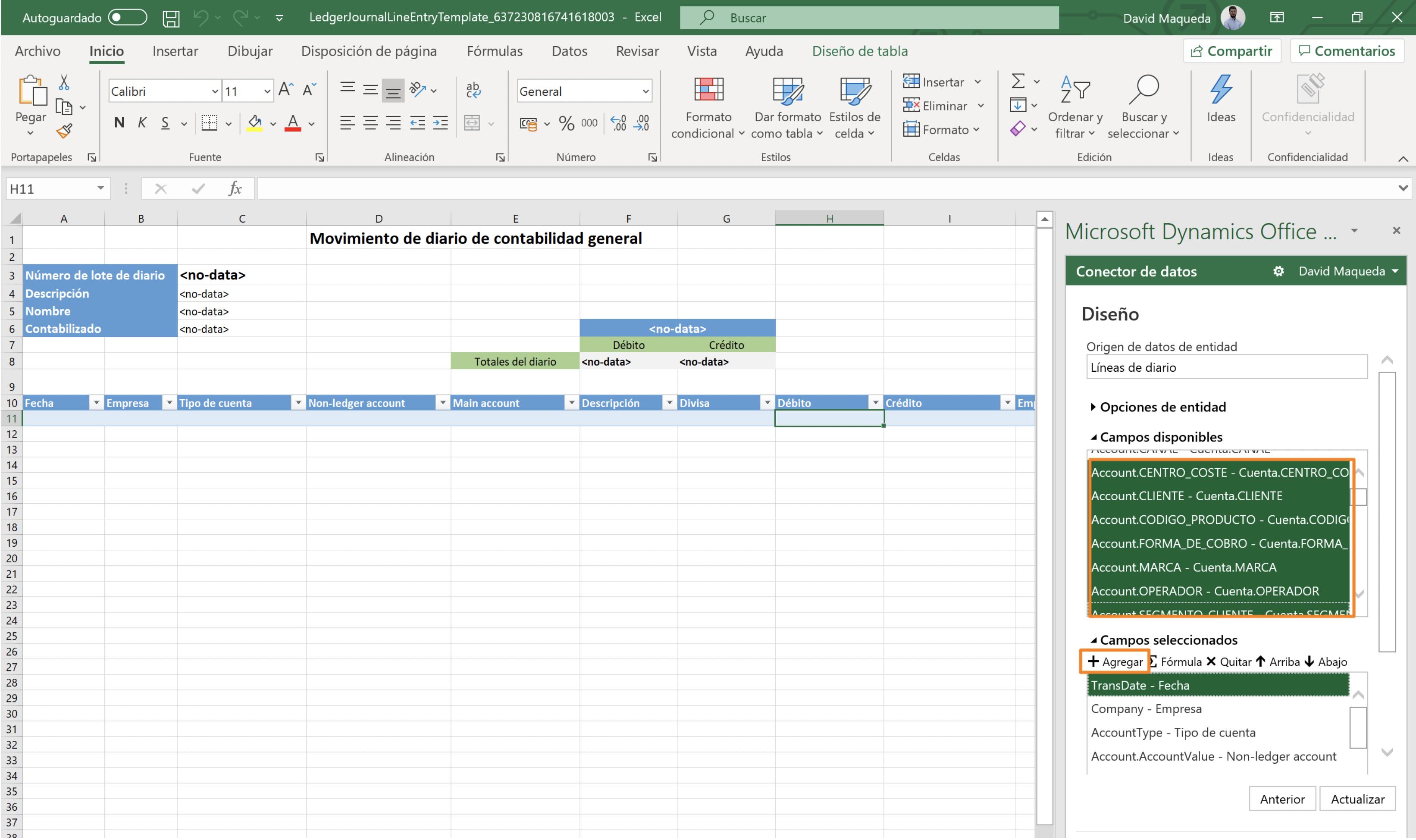 Editar plantillas de Excel para añadir Dimensiones financieras en MSDyn365FO Axazure