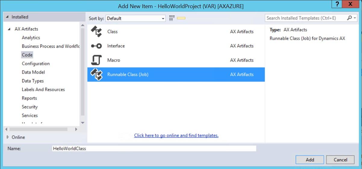 """Hello World!"" Empezando a programar con el Nuevo Microsoft Dynamics AX (AX7)"