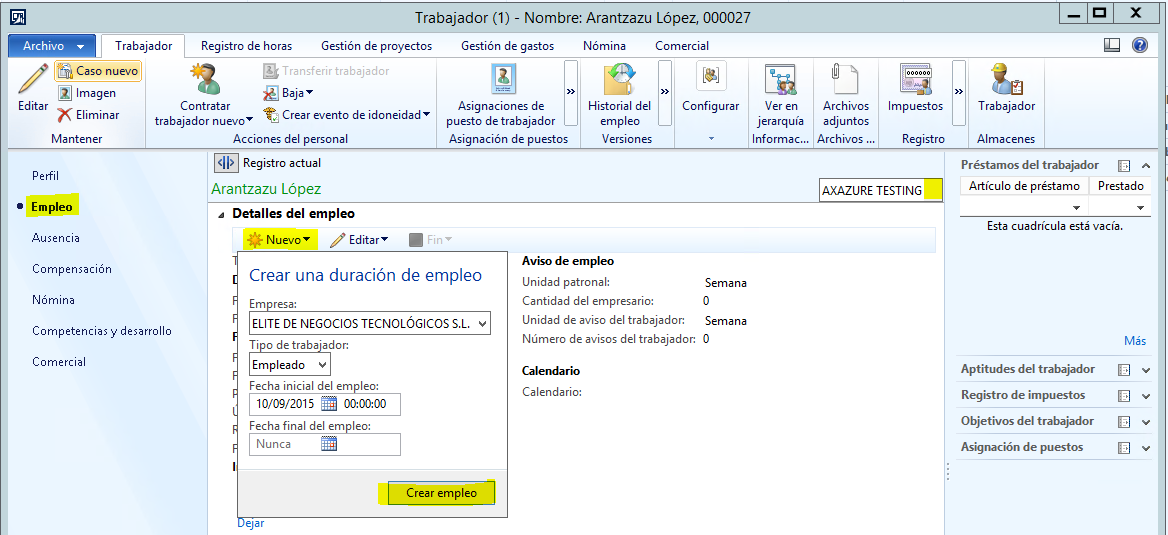 Diferencias entre Empleado y Trabajador en Microsoft Dynamics AX 2012 R3.