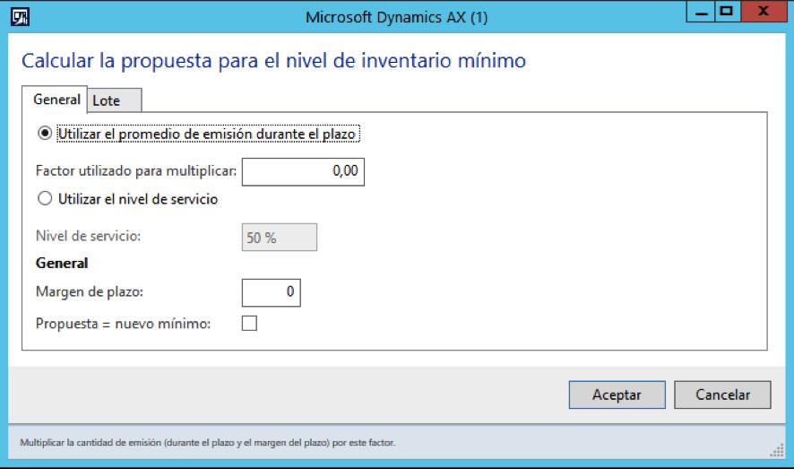 Fórmulas para el cálculo de Stock mínimos en Dynamics AX Axazure