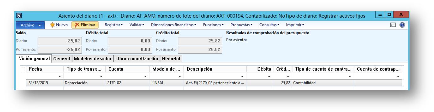 Depreciación de un Activo Fijo en AX 2012 R3 Axazure