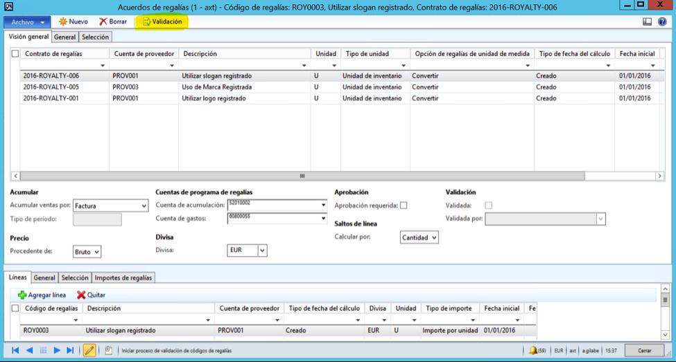 Configuración de Royalties o Regalías en AX 2012 R3 Axazure
